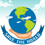 Save the world sign with earth on hand Royalty Free Stock Photography
