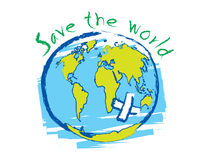 Save the world sketch idea concept vector Royalty Free Stock Photos