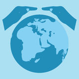 Save the World  symbol.Save Earth.Earth Day. Royalty Free Stock Images