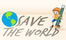 Save the world theme with boy and earth Stock Image