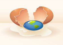 Save the world theme with cracking egg. Illustration Royalty Free Stock Photos