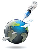 Save the world theme with earth and syringe Royalty Free Stock Images