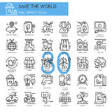 Save the world , thin line icons set Stock Image