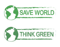 Save world, think green vector sign with planet. Save world, think green, scratch grunge vector graffiti print sign with planet earth icon in green color Stock Image