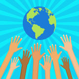 Save world vector illustration.  Ecological and humanitarian con. Hands of people from different nationalities are drawn to the Globe. Ecological and Stock Photos
