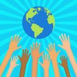 Save world vector illustration.  Ecological and humanitarian con Stock Photos