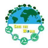 Save the world vector infographic concept stock illustration