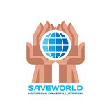 Save World - vector logo template concept illustration in flat style. Globe sign in abstract human hands. Creative sign. Stock Photos