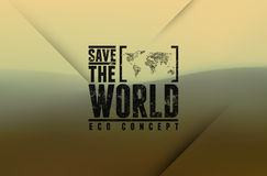 Save the World. Vector typography design with blurred landscape. Blurred background. Stock Photography