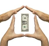 Save your money!. Isolated hands and US dollar (made from my images Royalty Free Stock Photography