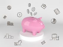Save your money, concept of time or financial management. 3d illustration Stock Photos