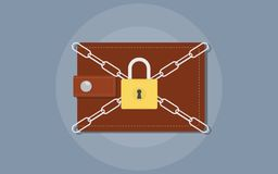 Save your money illustration with wallet and chain padlock locked stock illustration