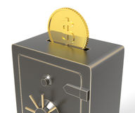 Save your Money. Locked safe with money coins inserted. 3D rendering Royalty Free Stock Photos