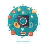 Save your money - modern flat design business infographics illustration. Modern flat design money savings business and finance vector infographics illustration Stock Photo