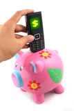 Save your Phone Bill. Piggy bank with a mobile phone with a dollar sign on screen Stock Photography