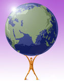 Save your planet. Computer generated illustration of a human being holding the world Stock Photo