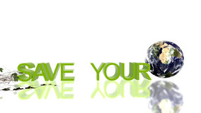 Save Your Planet text with rolling Earth and growing ivy,environmental concept, stock footage stock footage