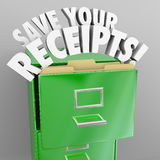 Save Your Receipts File Cabinet Tax Audit Records. Save Your Receipts words in green file cabinet to illustrate importance of keeping proof of expenses in case Royalty Free Stock Photography