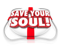Save Your Soul Words Life Preserver Royalty Free Stock Image