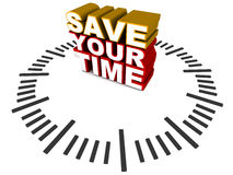 Save your time. Words save your time sitting in the middle of a 3d clock dial, white background, text in red and yellow royalty free illustration