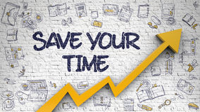 Save Your Time Drawn on White Brick Wall. Royalty Free Stock Photos
