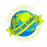 Save ziemię, ochrania nasz planetę, eco ekologia, zmiany klimatu ilustracji