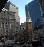 Saved From Demolition, Old South Meeting House. Freedom Trail Old South Meeting House Boston MA.  Early puritan place of worship.  Was desecrated by the British Stock Image