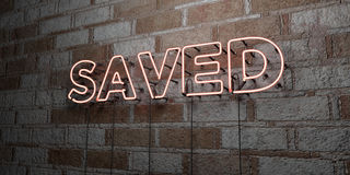 SAVED - Glowing Neon Sign on stonework wall - 3D rendered royalty free stock illustration. Can be used for online banner ads and direct mailers stock illustration