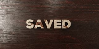 Saved - grungy wooden headline on Maple - 3D rendered royalty free stock image. This image can be used for an online website banner ad or a print postcard royalty free illustration