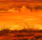 Saved lakes sunset of sun, painting by oil on canvas, illustrati Royalty Free Stock Images