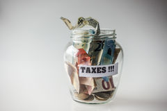Saved money for taxes Royalty Free Stock Photo