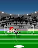 Saved penalty. Illustration of a goalkeeper who saves a penalty. All from the point of view of the player who kicks the penalty. You can find different kids or Stock Image