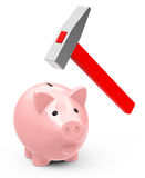 Saveings. 3d generated picture of a piggybank and a red hammer stock illustration