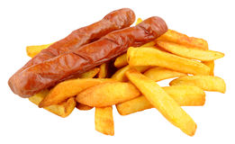 Saveloy Sausages And Chips Royalty Free Stock Image