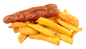 Saveloy Sausages And Chips Stock Image