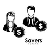 Saver icons. Savers icons over white background vector illustration Royalty Free Stock Photos