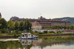 在运河的小船 库存照片