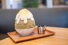 Saveur de dessert de glace rasée par Japonais de kakigori de Hojicha Image stock