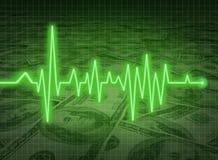 Savi financiero del estatus del dinero de la economía de la salud de EKG ECG Fotos de archivo libres de regalías