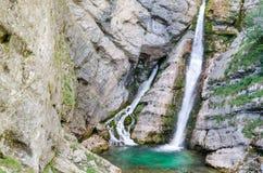 Savica瀑布,斯洛文尼亚 免版税图库摄影