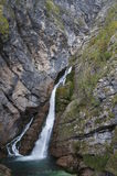 Savica瀑布,斯洛文尼亚 库存图片