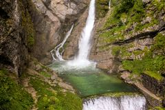Savica waterfal在Bohinj湖附近在斯洛文尼亚 库存图片