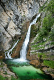 Savica waterfall. (78 meters height) is one of the most famous and popular waterfalls in Slovenia Royalty Free Stock Photo