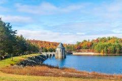 Free Saville Dam Backed By Beautiful Fall Foliage Royalty Free Stock Photo - 165322805