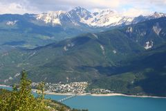 Savines-le-Lac in the Hautes-Alpes mountains, France stock images