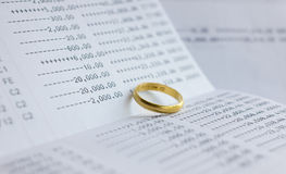 Saving account Passbook with gold ring Royalty Free Stock Photo