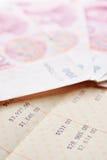 Saving account passbook and renminbi. Close up saving account passbook and renminbi Stock Photos