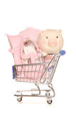 Saving for a baby girl piggybank. Cutout Stock Photo