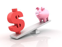 Saving Balance. Three dimensional illustration of sesaw with Piggy Bank and Dollar sign Royalty Free Stock Photo