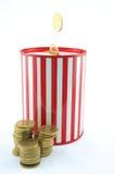 Saving can bank. Saving money starts from small things at home Royalty Free Stock Images